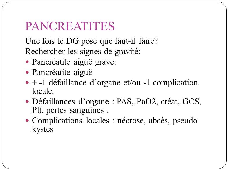 PANCREATITES Une fois le DG posé que faut-il faire? Rechercher les signes de gravité: Pancréatite aiguë grave: Pancréatite aiguë + -1 défaillance dorg