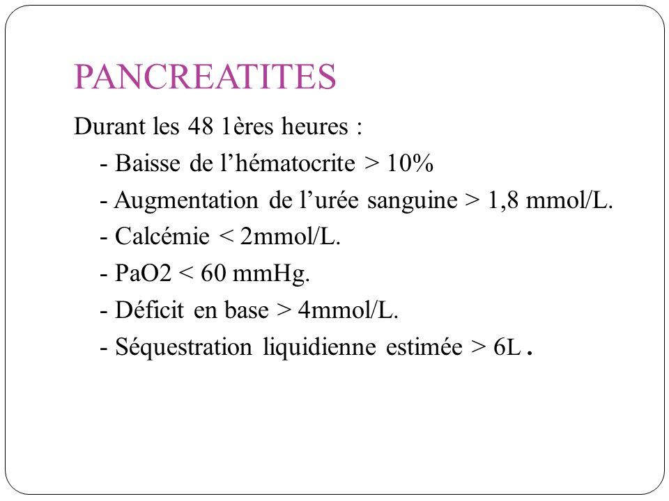 PANCREATITES Durant les 48 1ères heures : - Baisse de lhématocrite > 10% - Augmentation de lurée sanguine > 1,8 mmol/L. - Calcémie < 2mmol/L. - PaO2 <