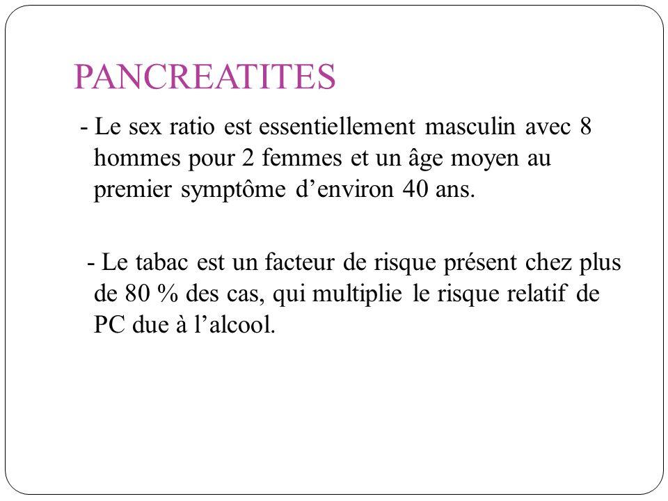 PANCREATITES - Le sex ratio est essentiellement masculin avec 8 hommes pour 2 femmes et un âge moyen au premier symptôme denviron 40 ans. - Le tabac e