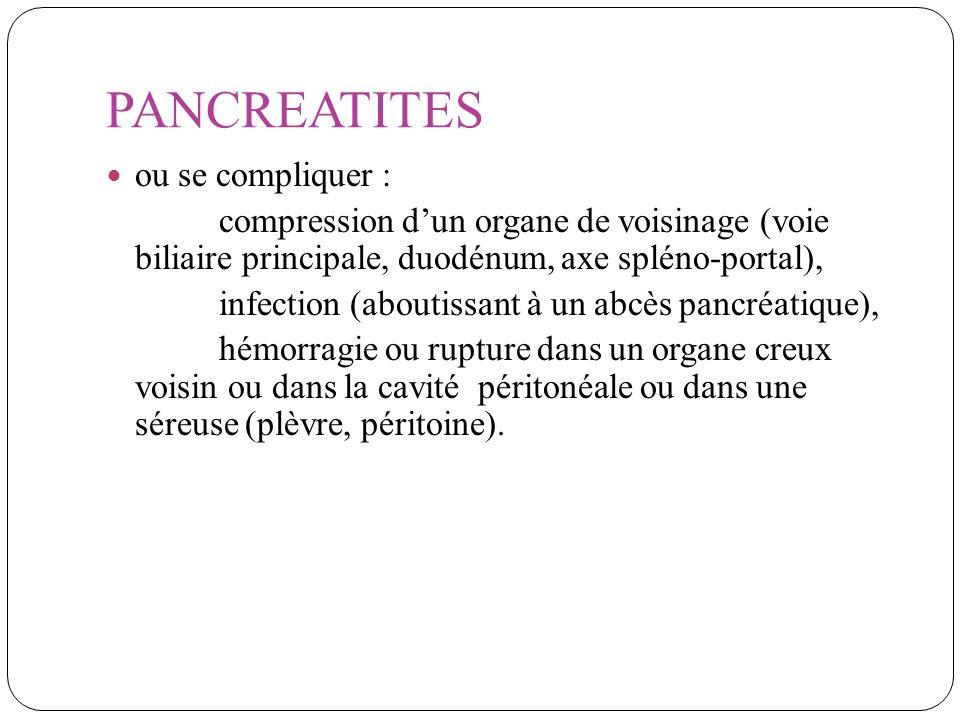 PANCREATITES ou se compliquer : compression dun organe de voisinage (voie biliaire principale, duodénum, axe spléno-portal), infection (aboutissant à