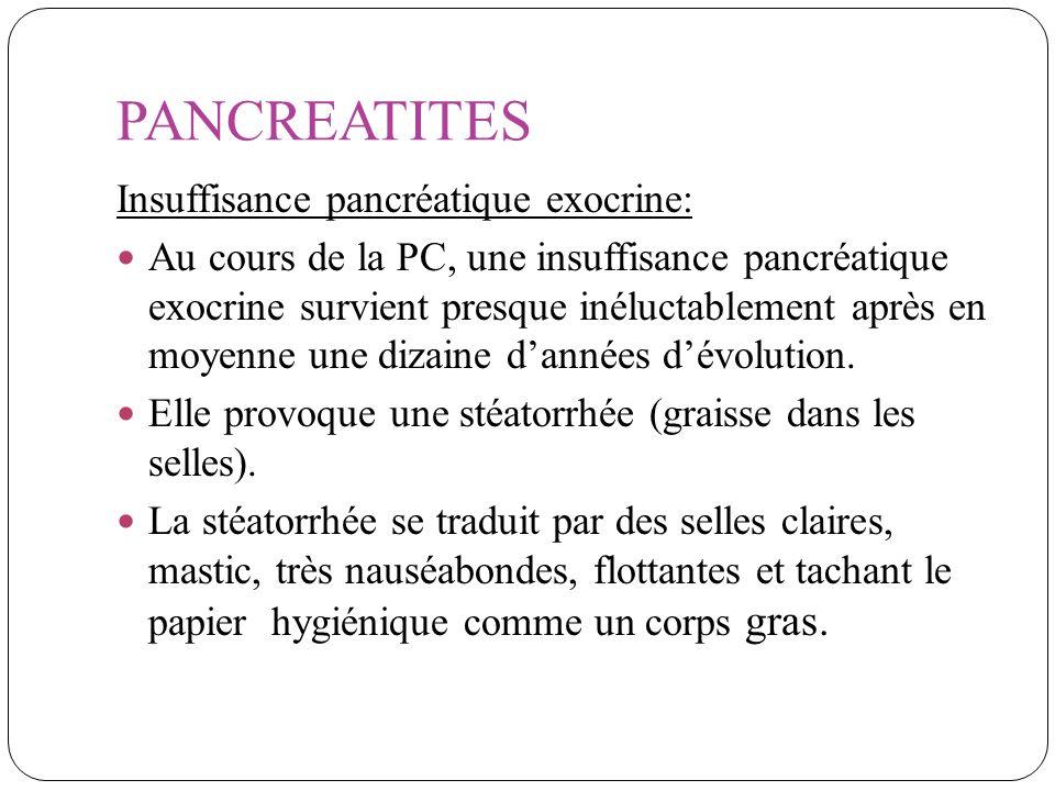 PANCREATITES Insuffisance pancréatique exocrine: Au cours de la PC, une insuffisance pancréatique exocrine survient presque inéluctablement après en m