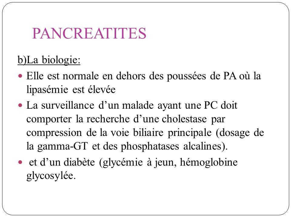 PANCREATITES b)La biologie: Elle est normale en dehors des poussées de PA où la lipasémie est élevée La surveillance dun malade ayant une PC doit comp