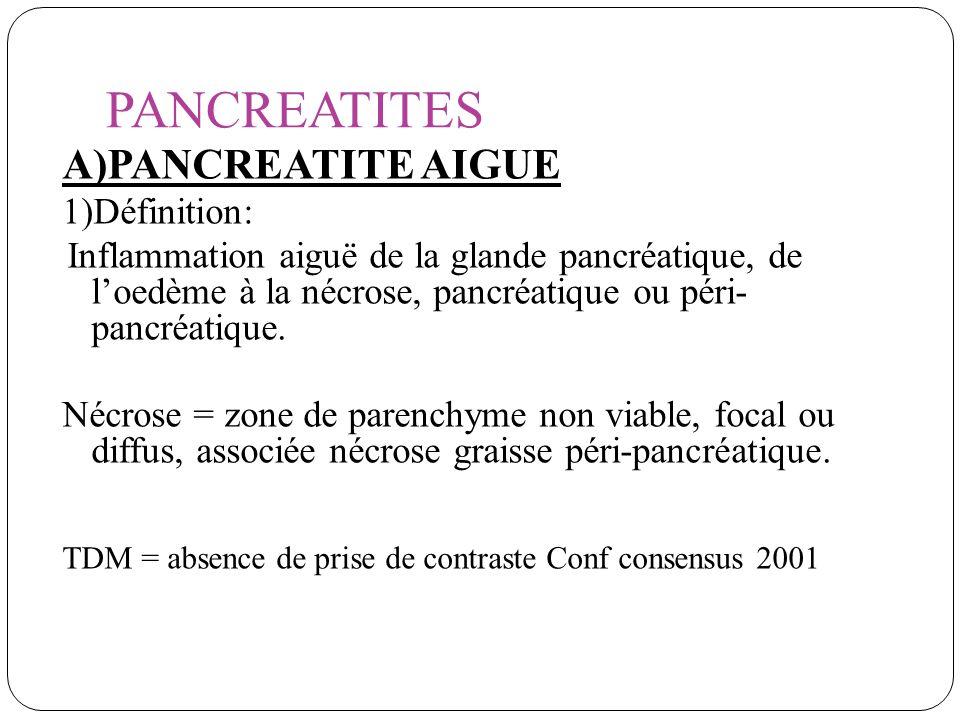 PANCREATITES A)PANCREATITE AIGUE 1)Définition: Inflammation aiguë de la glande pancréatique, de loedème à la nécrose, pancréatique ou péri- pancréatiq