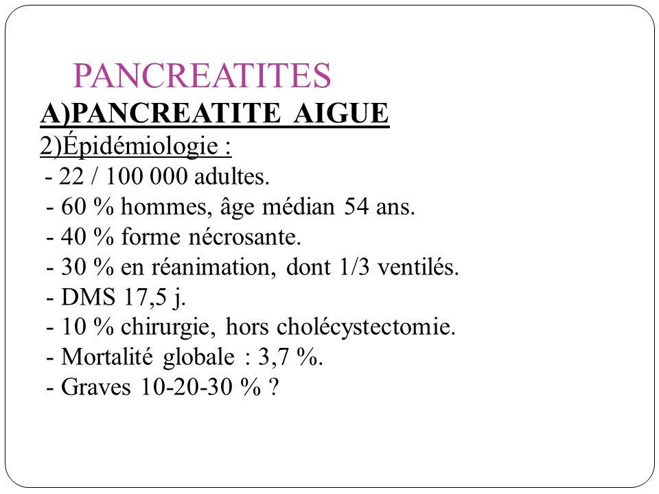 PANCREATITES A)PANCREATITE AIGUE: 3)Étiologies: Lithiase:37 %.