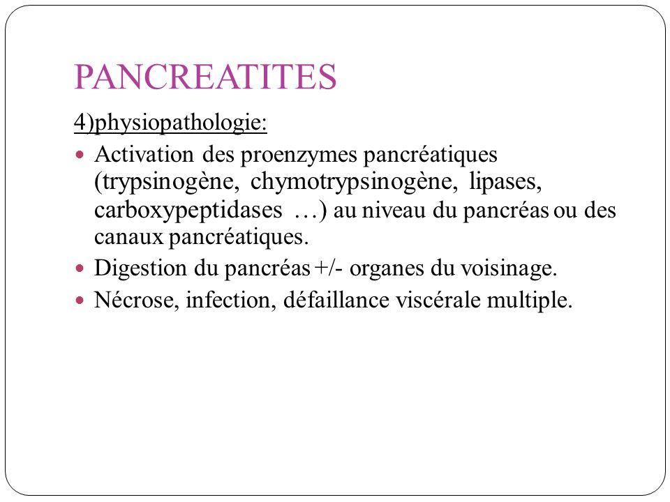 PANCREATITES 4)physiopathologie: Activation des proenzymes pancréatiques (trypsinogène, chymotrypsinogène, lipases, carboxypeptidases …) au niveau du