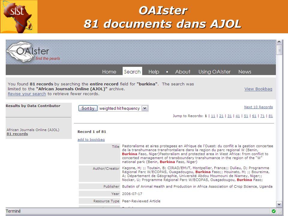 15 OAIster 81 documents dans AJOL