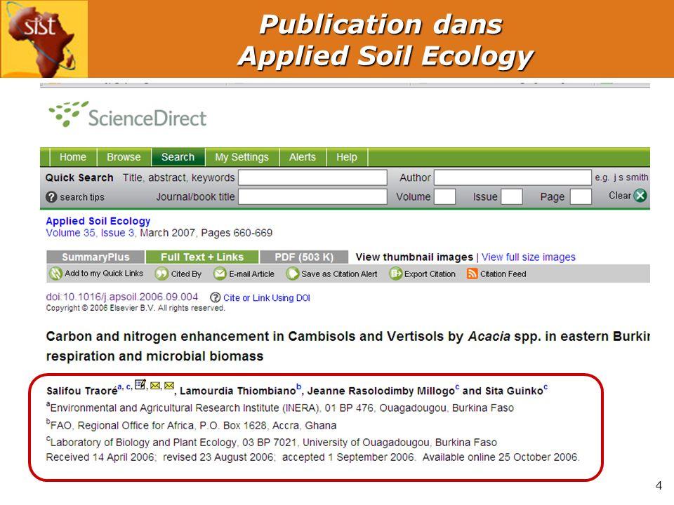 4 Publication dans Applied Soil Ecology