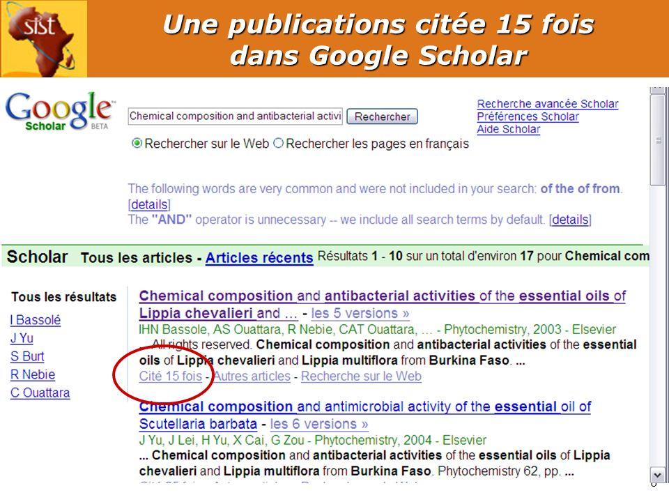 7 Principales disciplines Sources : Web of Science – période 2000-2008 – Burkina Faso