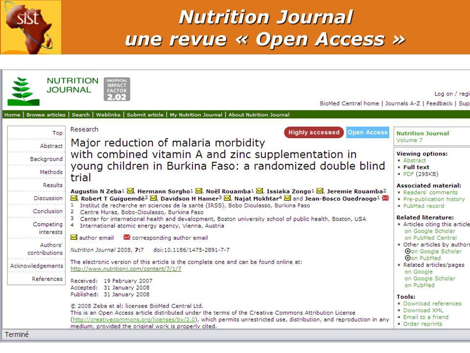10 Nutrition Journal une revue « Open Access »
