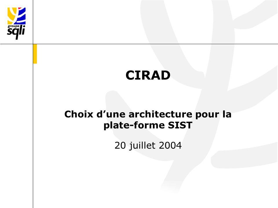 CIRAD Choix dune architecture pour la plate-forme SIST 20 juillet 2004