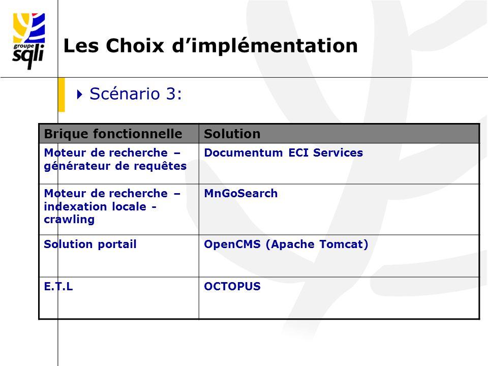 SCENARIO 3 : DOCUMENTUM ECI SERVICES + openCMS + MngoSearch + Octopus Evaluation approximative des coûts: