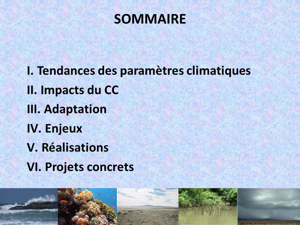 SOMMAIRE I.Tendances des paramètres climatiques II.