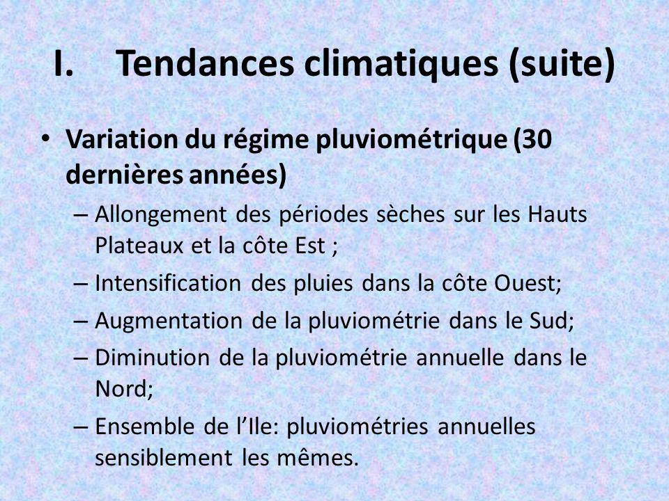 I.Tendances climatiques Augmentation de la température (30 dernières années) – Sud : ~ 0,9°C; – Nord :~0,2°C;