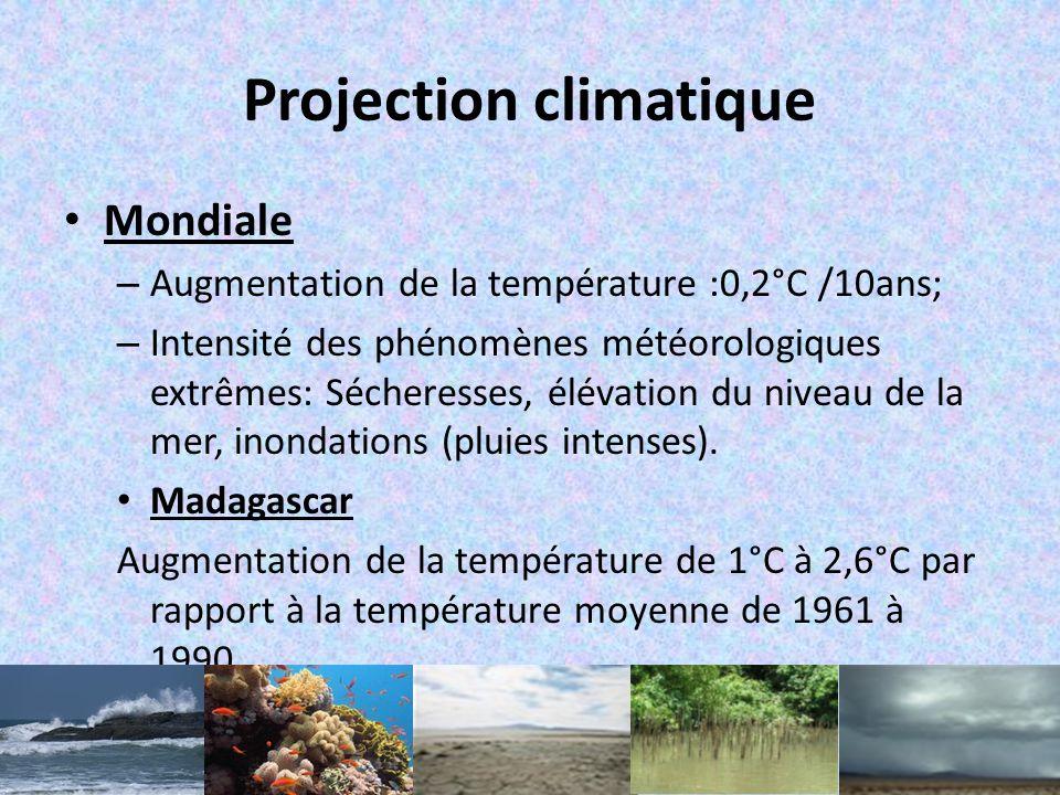 Projection climatique Mondiale – Augmentation de la température :0,2°C /10ans; – Intensité des phénomènes météorologiques extrêmes: Sécheresses, élévation du niveau de la mer, inondations (pluies intenses).