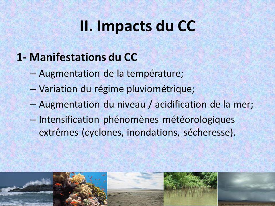 Projection climatique Mondiale – Augmentation de la température :0,2°C /10ans; – Intensité des phénomènes météorologiques extrêmes: Sécheresses, éléva