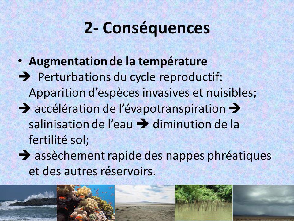 II. Impacts du CC 1- Manifestations du CC – Augmentation de la température; – Variation du régime pluviométrique; – Augmentation du niveau / acidifica
