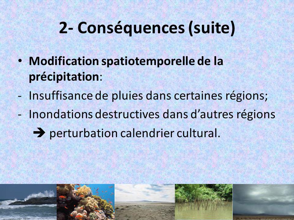 2- Conséquences (suite) Modification spatiotemporelle de la précipitation: -Insuffisance de pluies dans certaines régions; -Inondations destructives dans dautres régions perturbation calendrier cultural.