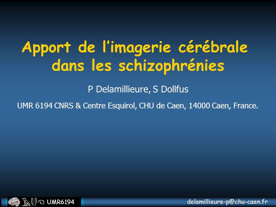 delamillieure-p@chu-caen.fr UMR6194 Apport de limagerie cérébrale dans les schizophrénies P Delamillieure, S Dollfus UMR 6194 CNRS & Centre Esquirol,