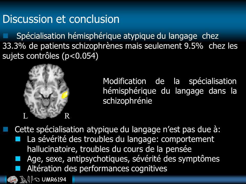 UMR6194 Discussion et conclusion Spécialisation hémisphérique atypique du langage chez 33.3% de patients schizophrènes mais seulement 9.5% chez les su