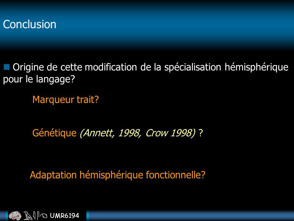 UMR6194 Conclusion Origine de cette modification de la spécialisation hémisphérique pour le langage? Adaptation hémisphérique fonctionnelle? Génétique