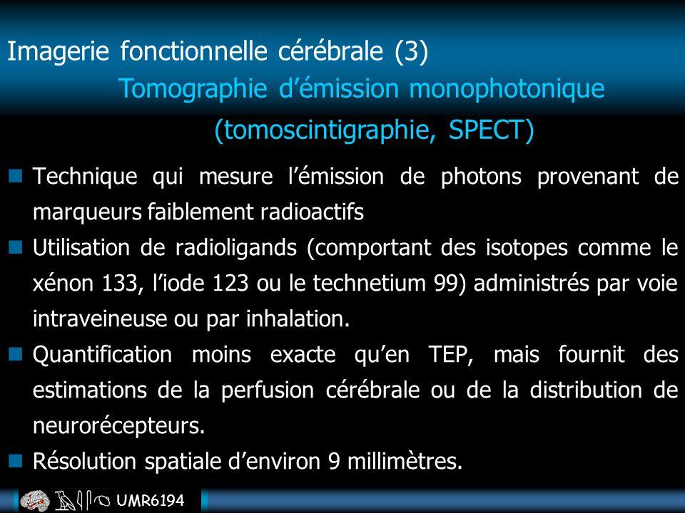 UMR6194 Technique qui mesure lémission de photons provenant de marqueurs faiblement radioactifs Utilisation de radioligands (comportant des isotopes c