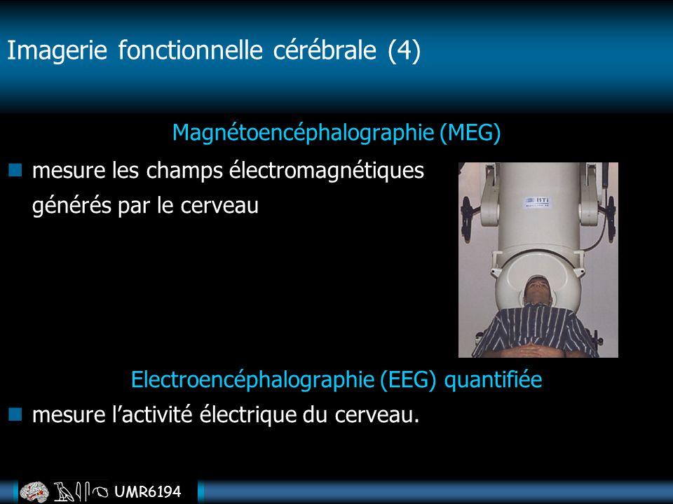 UMR6194 Magnétoencéphalographie (MEG) mesure les champs électromagnétiques générés par le cerveau Electroencéphalographie (EEG) quantifiée mesure lact