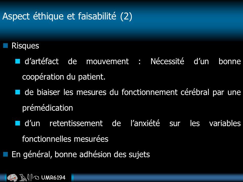 UMR6194 Risques dartéfact de mouvement : Nécessité dun bonne coopération du patient. de biaiser les mesures du fonctionnement cérébral par une prémédi