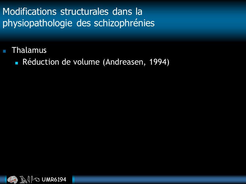 UMR6194 Thalamus Réduction de volume (Andreasen, 1994) Modifications structurales dans la physiopathologie des schizophrénies