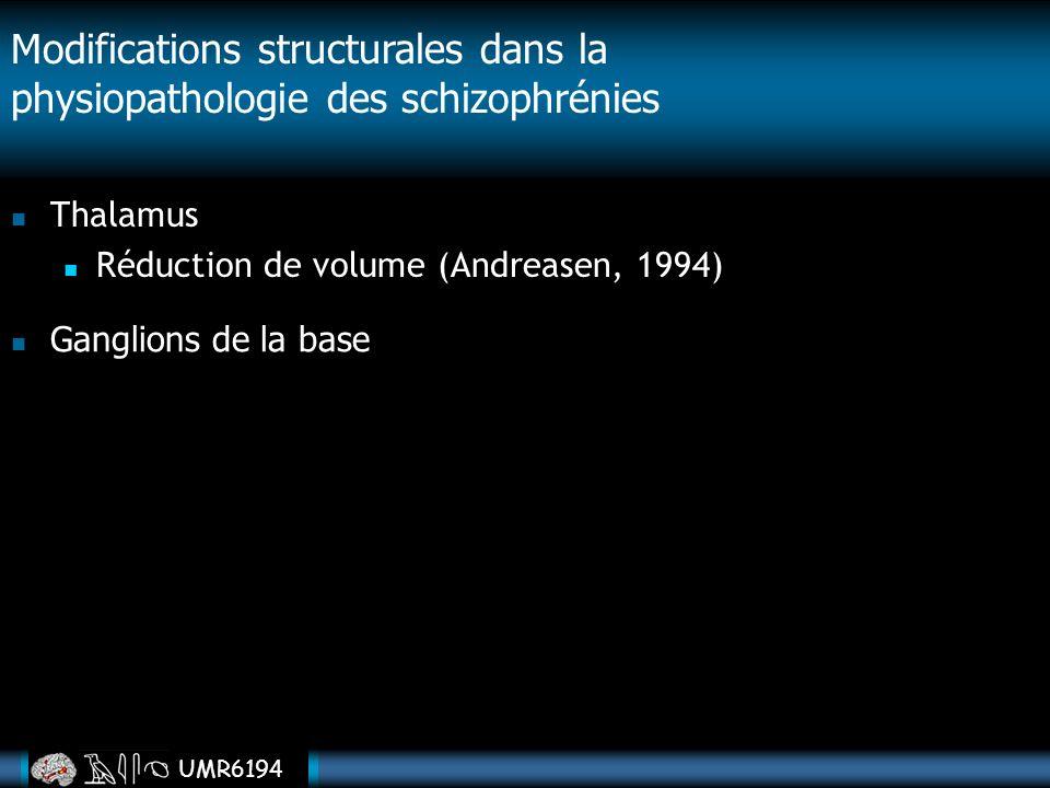 UMR6194 Thalamus Réduction de volume (Andreasen, 1994) Modifications structurales dans la physiopathologie des schizophrénies Ganglions de la base
