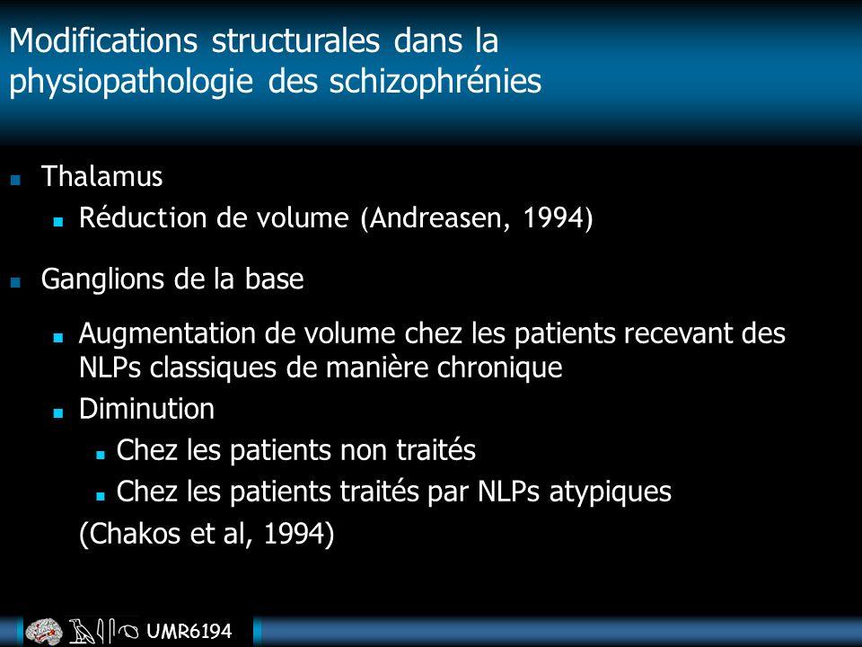 Thalamus Réduction de volume (Andreasen, 1994) Modifications structurales dans la physiopathologie des schizophrénies Ganglions de la base Augmentatio