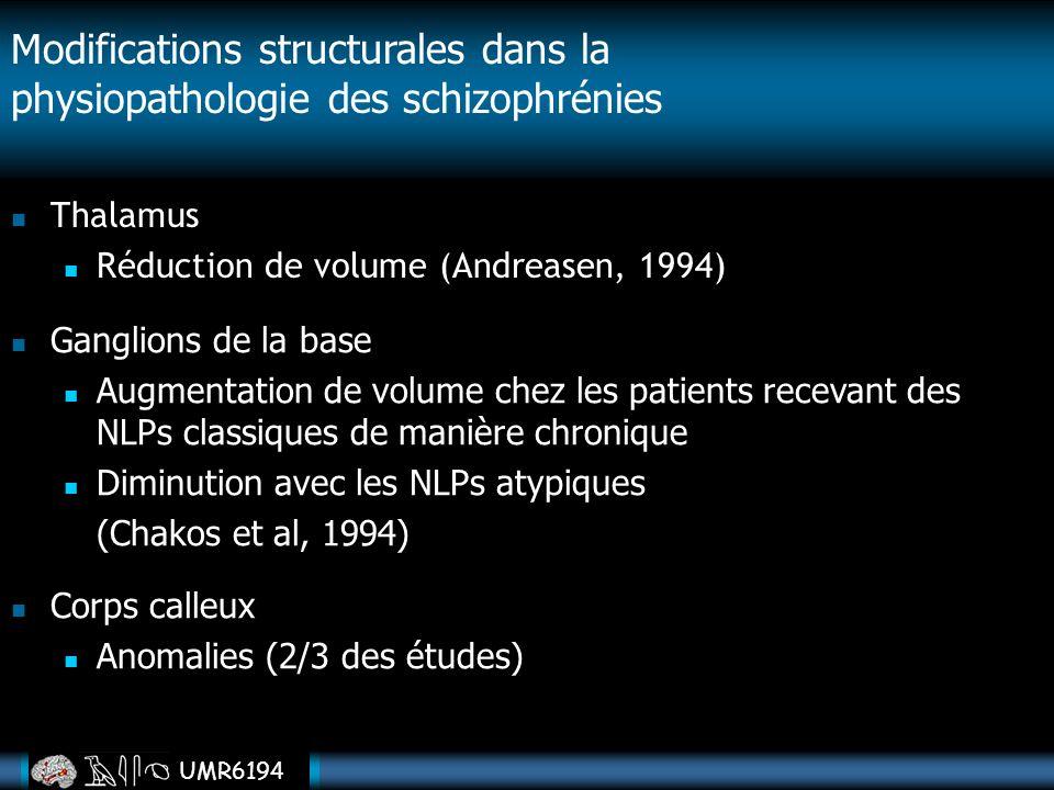 UMR6194 Thalamus Réduction de volume (Andreasen, 1994) Modifications structurales dans la physiopathologie des schizophrénies Ganglions de la base Aug
