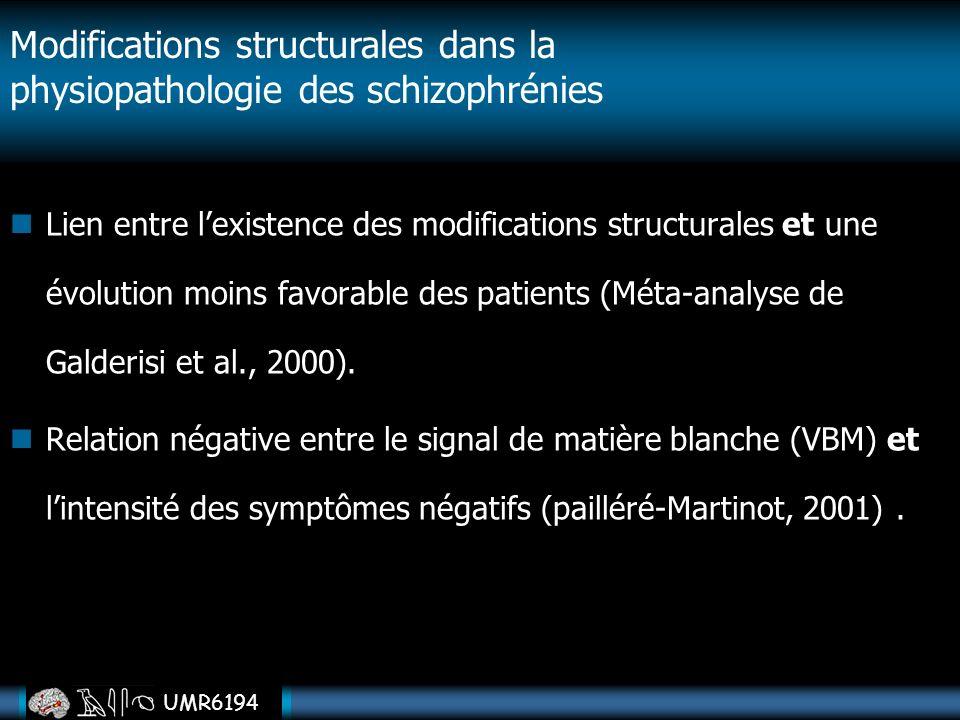 UMR6194 Lien entre lexistence des modifications structurales et une évolution moins favorable des patients (Méta-analyse de Galderisi et al., 2000). R