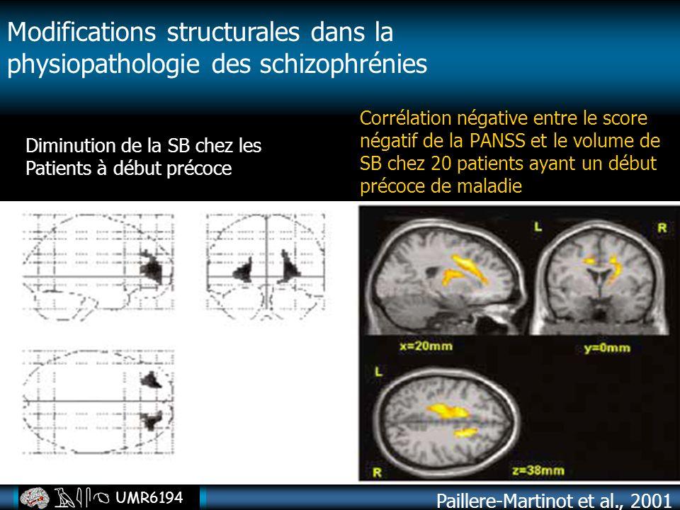 UMR6194 Paillere-Martinot et al., 2001 Modifications structurales dans la physiopathologie des schizophrénies Diminution de la SB chez les Patients à