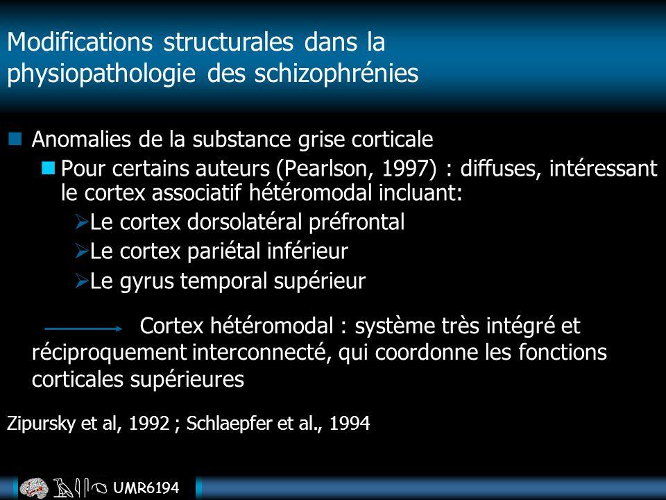 UMR6194 Anomalies de la substance grise corticale Pour certains auteurs (Pearlson, 1997) : diffuses, intéressant le cortex associatif hétéromodal incl
