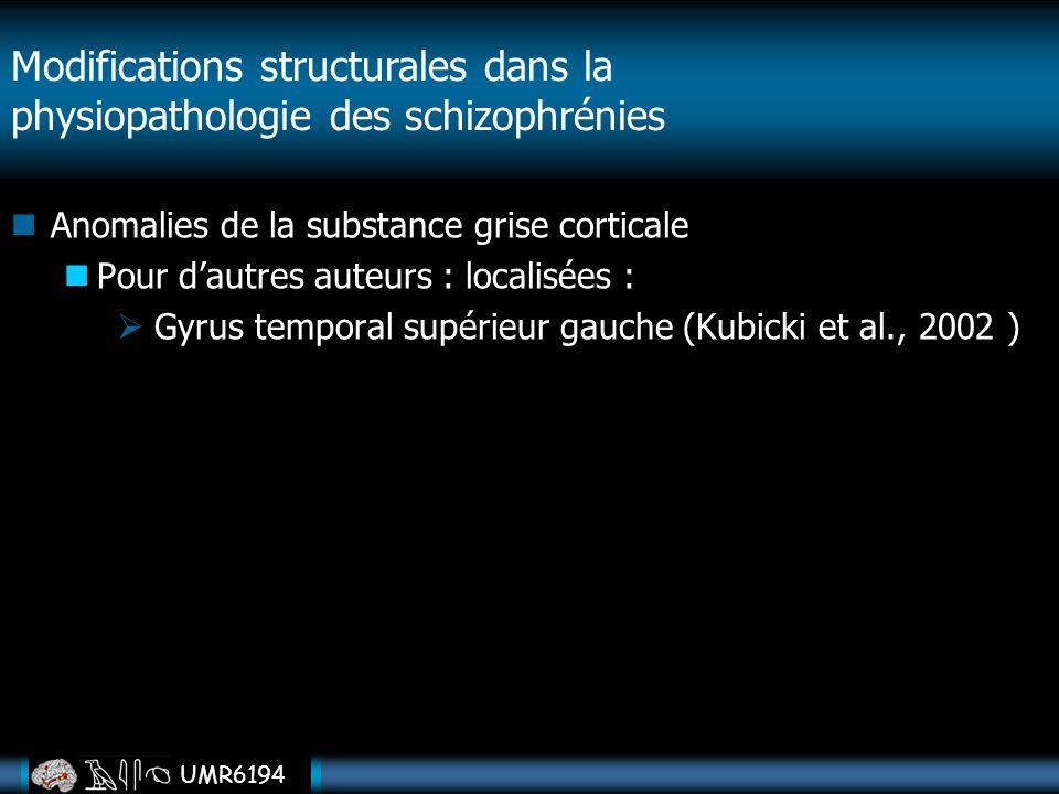 UMR6194 Anomalies de la substance grise corticale Pour dautres auteurs : localisées : Gyrus temporal supérieur gauche (Kubicki et al., 2002 ) Modifica