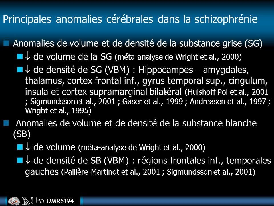 UMR6194 Anomalies de volume et de densité de la substance grise (SG) de volume de la SG (méta-analyse de Wright et al., 2000) de densité de SG (VBM) :