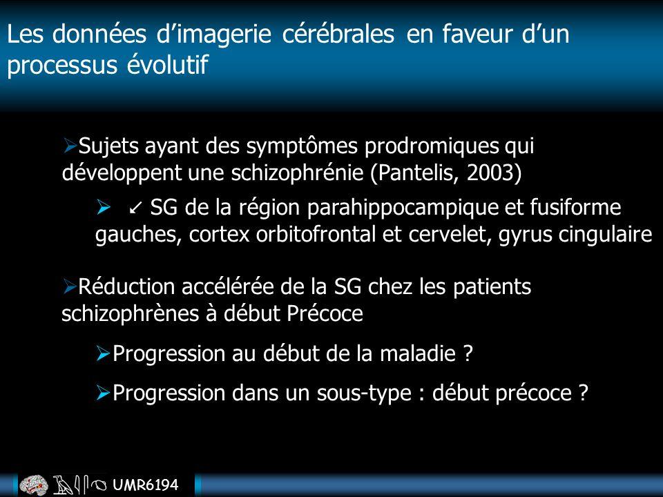 UMR6194 Les données dimagerie cérébrales en faveur dun processus évolutif Sujets ayant des symptômes prodromiques qui développent une schizophrénie (P