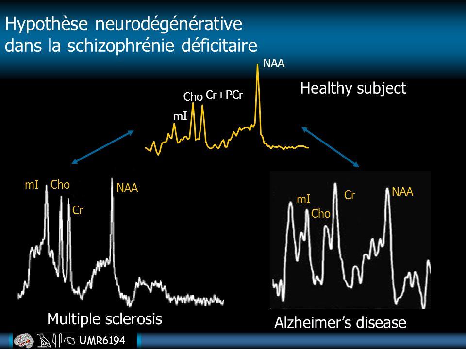 UMR6194 Healthy subject Cho Cr+PCr NAA mI Multiple sclerosis NAA Cr ChomI Alzheimers disease NAA Cr mI Cho Hypothèse neurodégénérative dans la schizop