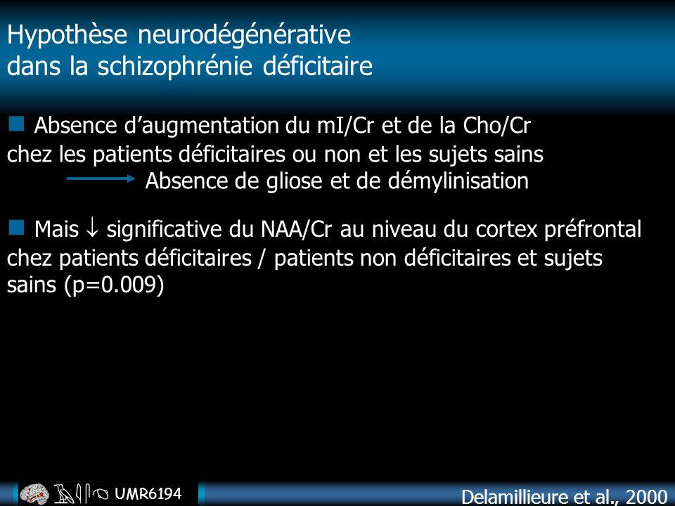 UMR6194 Absence daugmentation du mI/Cr et de la Cho/Cr chez les patients déficitaires ou non et les sujets sains Absence de gliose et de démylinisatio