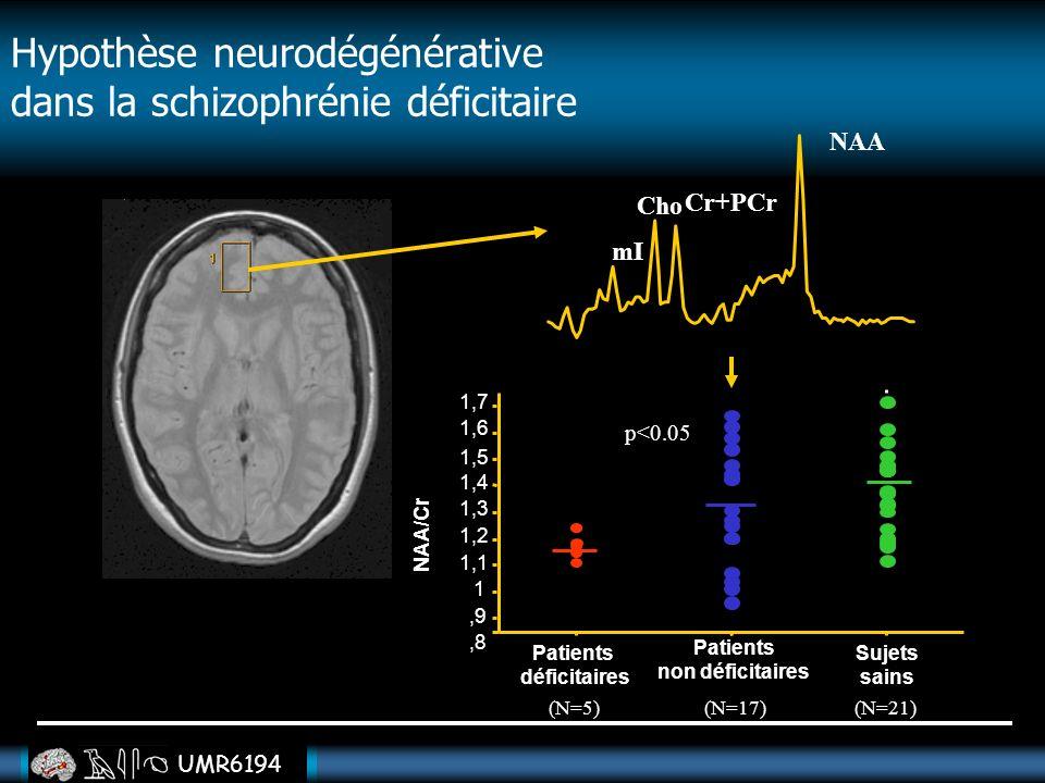 UMR6194 Cho Cr+PCr NAA mI Sujets sains,8 NAA/Cr Patients déficitaires Patients non déficitaires,9 1 1,1 1,2 1,3 1,4 1,5 1,6 1,7 p<0.05 (N=5)(N=17) (N=
