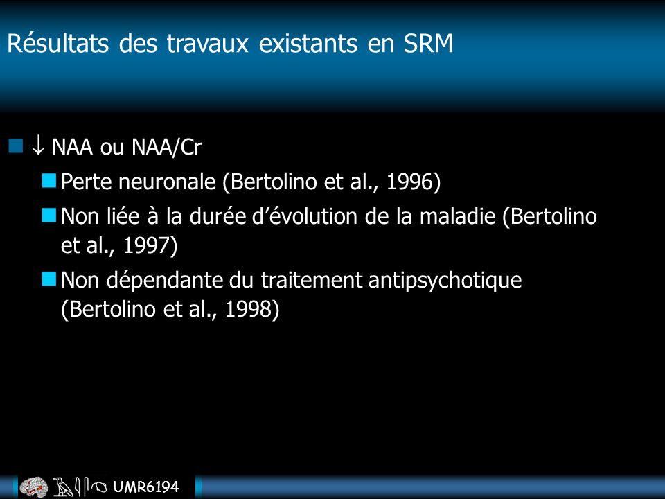 UMR6194 NAA ou NAA/Cr Perte neuronale (Bertolino et al., 1996) Non liée à la durée dévolution de la maladie (Bertolino et al., 1997) Non dépendante du