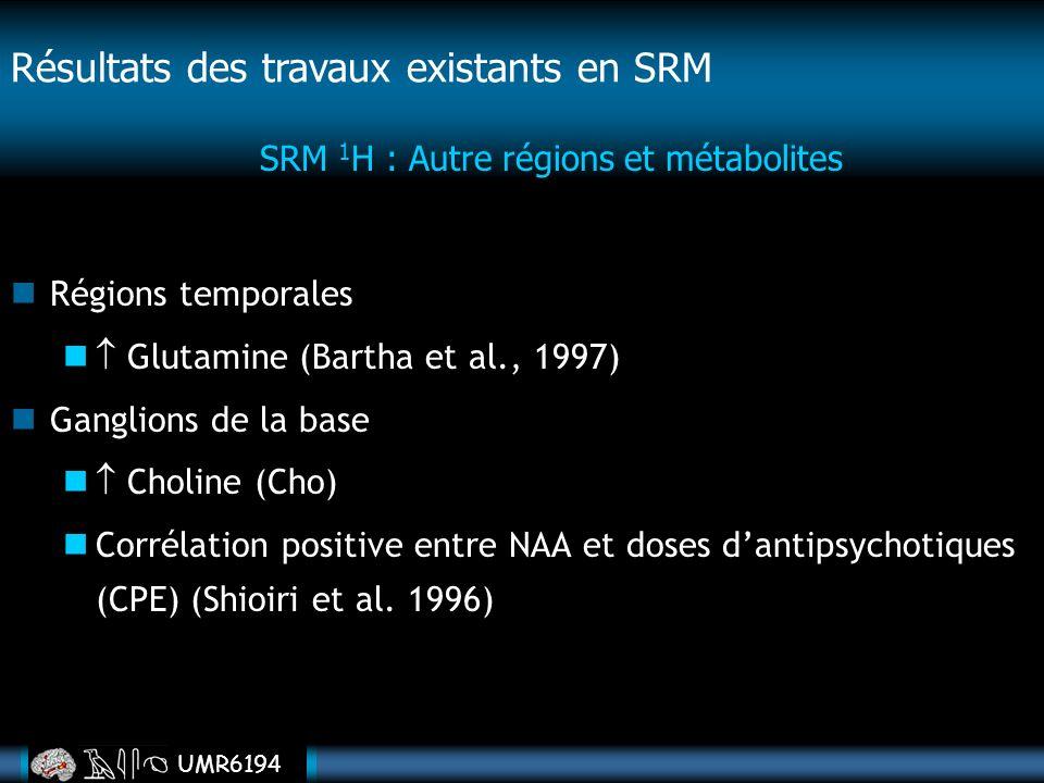 UMR6194 Régions temporales Glutamine (Bartha et al., 1997) Ganglions de la base Choline (Cho) Corrélation positive entre NAA et doses dantipsychotique