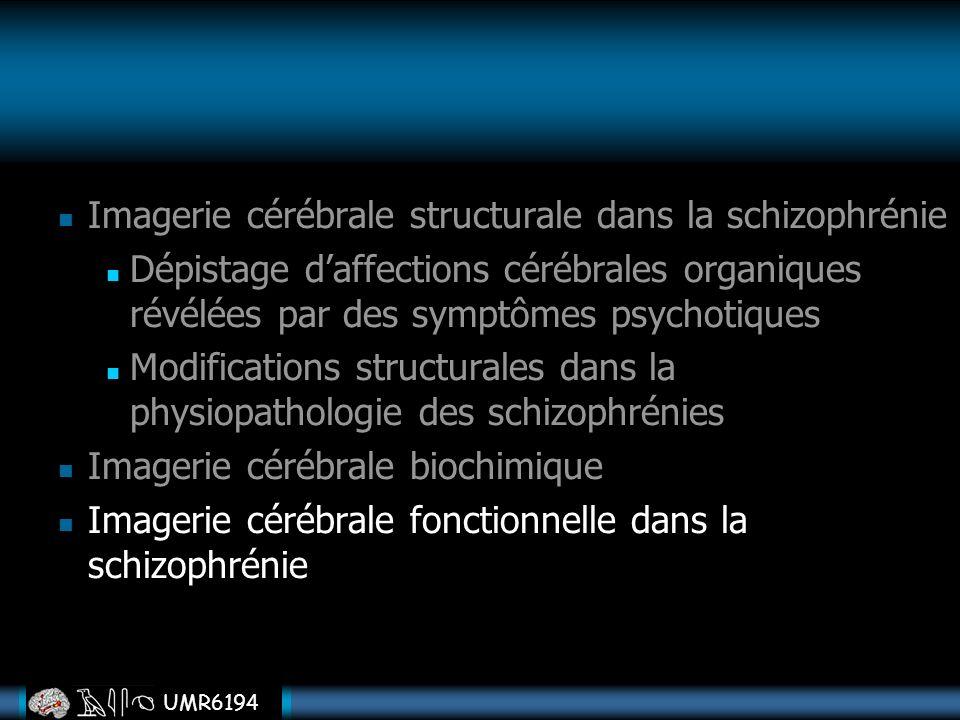 UMR6194 Imagerie cérébrale structurale dans la schizophrénie Dépistage daffections cérébrales organiques révélées par des symptômes psychotiques Modif