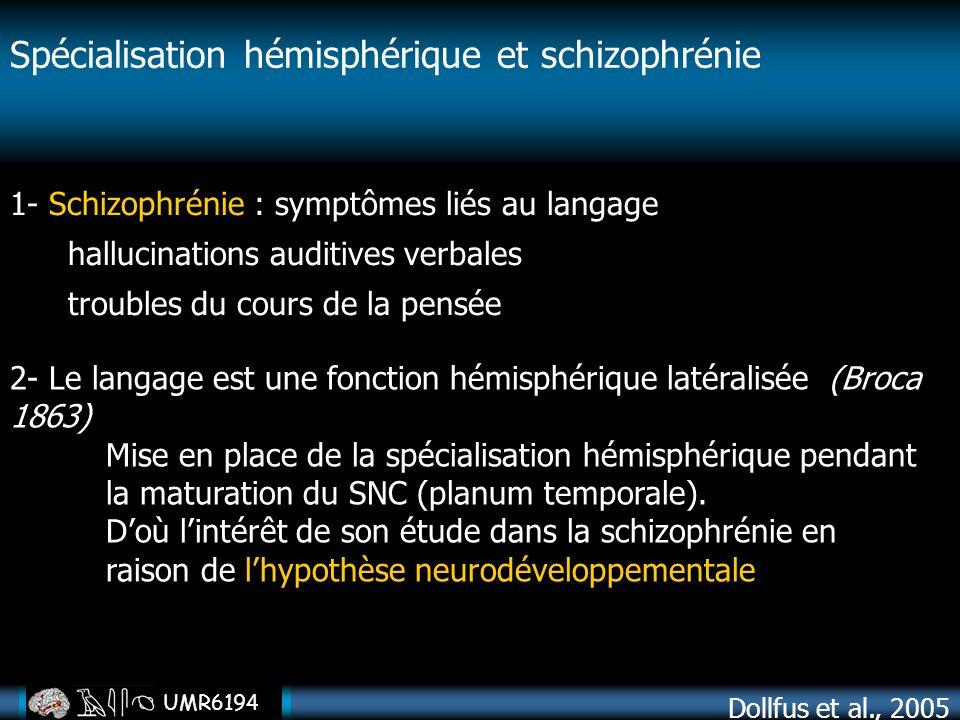 UMR6194 1- Schizophrénie : symptômes liés au langage hallucinations auditives verbales troubles du cours de la pensée 2- Le langage est une fonction h