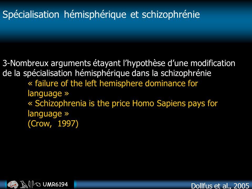 UMR6194 3-Nombreux arguments étayant lhypothèse dune modification de la spécialisation hémisphérique dans la schizophrénie « failure of the left hemis