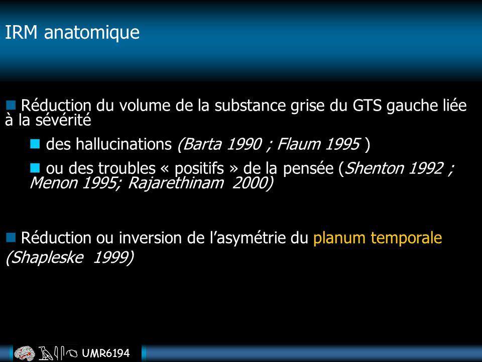 UMR6194 IRM anatomique Réduction ou inversion de lasymétrie du planum temporale (Shapleske 1999) Réduction du volume de la substance grise du GTS gauc