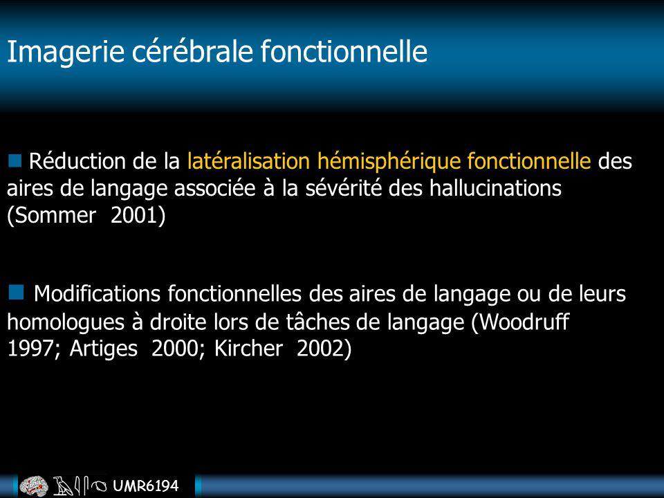 UMR6194 Imagerie cérébrale fonctionnelle Réduction de la latéralisation hémisphérique fonctionnelle des aires de langage associée à la sévérité des ha