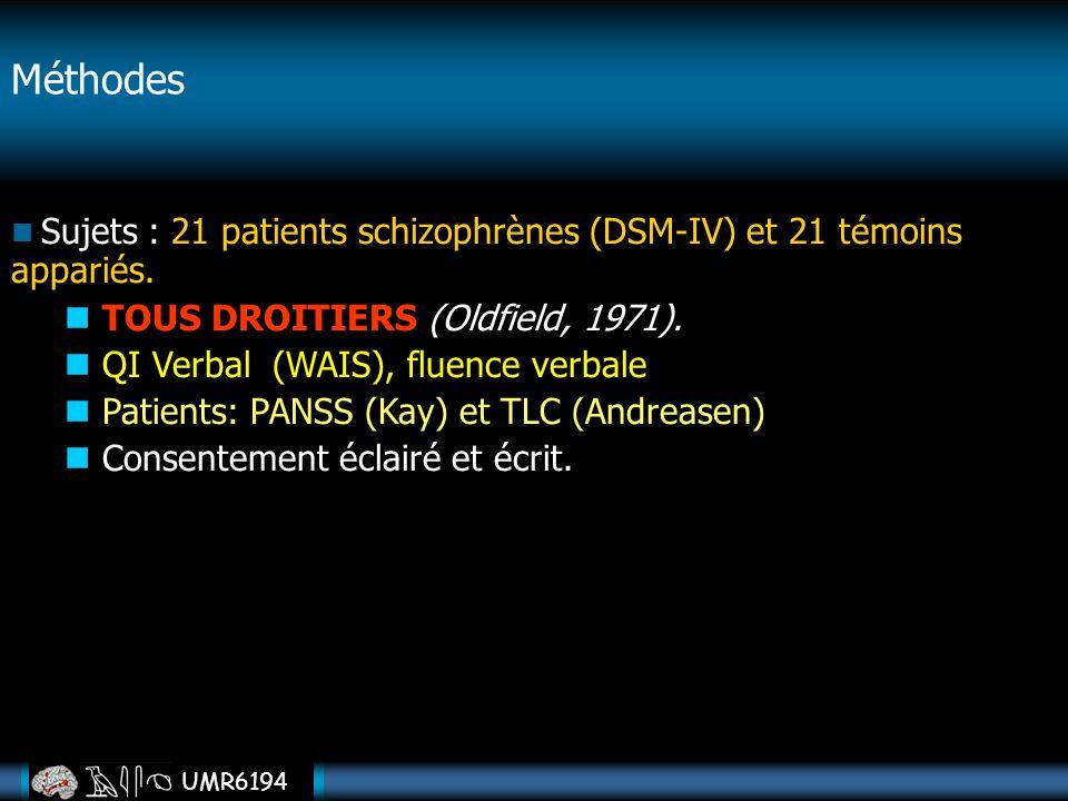 UMR6194 Méthodes Sujets : 21 patients schizophrènes (DSM-IV) et 21 témoins appariés. TOUS DROITIERS (Oldfield, 1971). QI Verbal (WAIS), fluence verbal