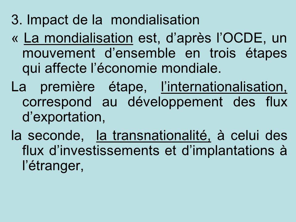 3. Impact de la mondialisation « La mondialisation est, daprès lOCDE, un mouvement densemble en trois étapes qui affecte léconomie mondiale. La premiè