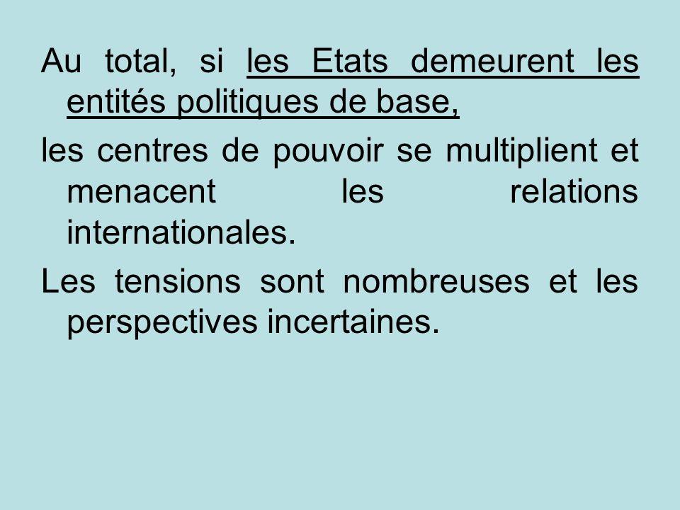 Au total, si les Etats demeurent les entités politiques de base, les centres de pouvoir se multiplient et menacent les relations internationales. Les
